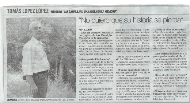 10-11-2015 DIARIO JAEN, Entrevista a Tomás López (1)
