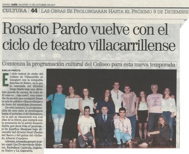 DIARIO JAEN 17-10-12 Rosario Pardo vuelve con el ciclo de teatro villacarrillense