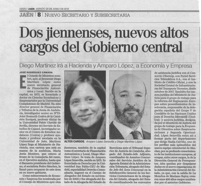 thumbnail_23-6-18 DIARIO JAEN Dos jiennenses nuevos altos cargos del Gobierno central - copia